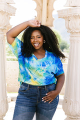 Clouds of Yellow & Blue Tie Dye Top