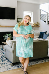 Tie Dyed Comfort T-Shirt Dress In Mint