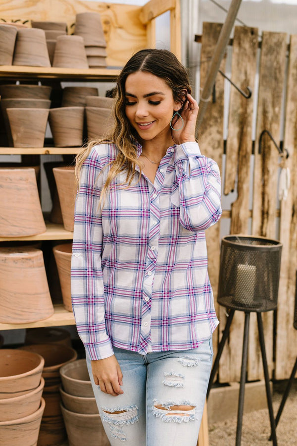 Happy Plaid Button-Down