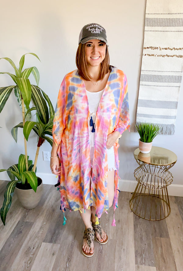 Tie Dye & Tassels Swim Suit Cover Up