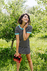 Later Skater T-shirt Dress With Turquoise Trim