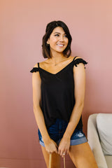 On Fire Cold Shoulder Top In Black