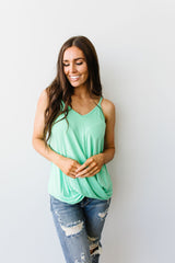 Simply Twisted Tank In Mint