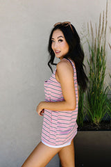 Stripe On All Summer Long Tank In Mauve