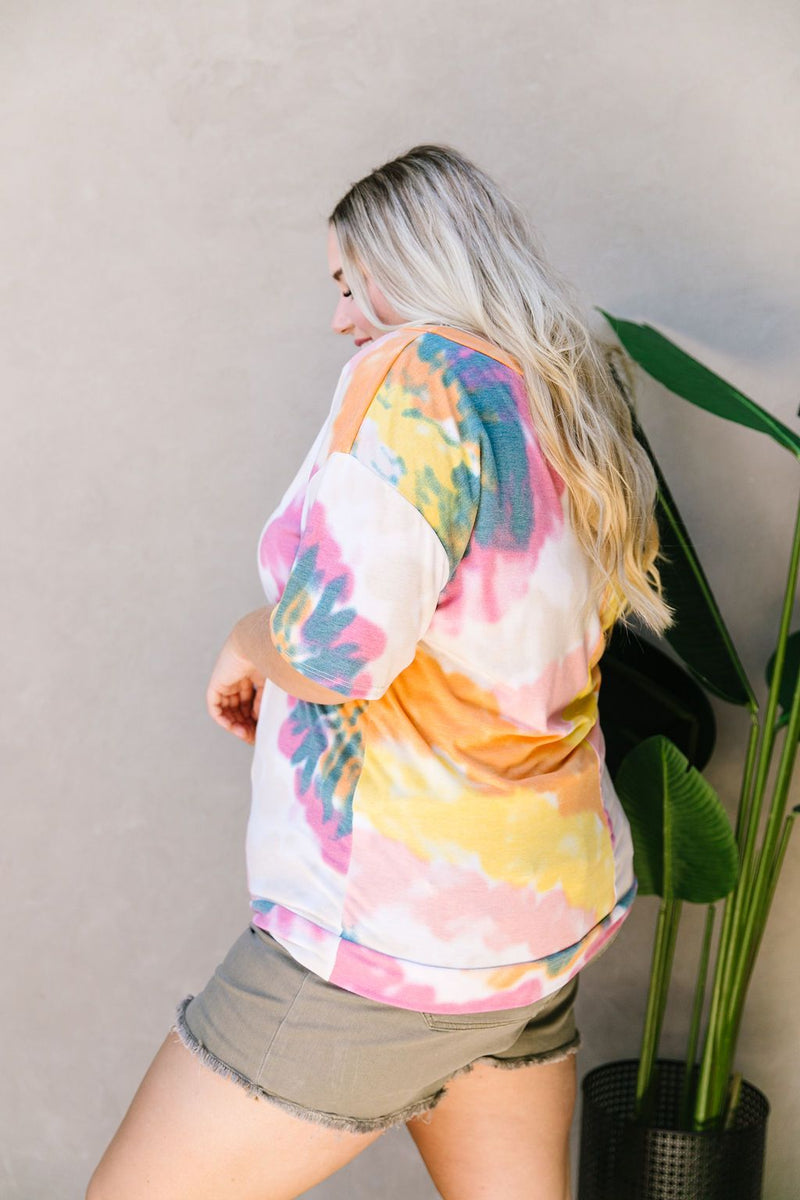 Tie Dye Swirls Top In Yellow