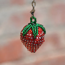 Beaded Strawberry Keychains