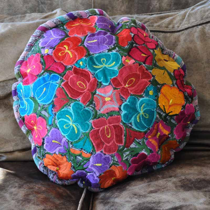 Colorful Floral Round Pillow