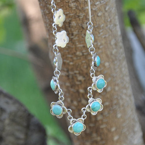 Floral Turquoise Silver Necklace