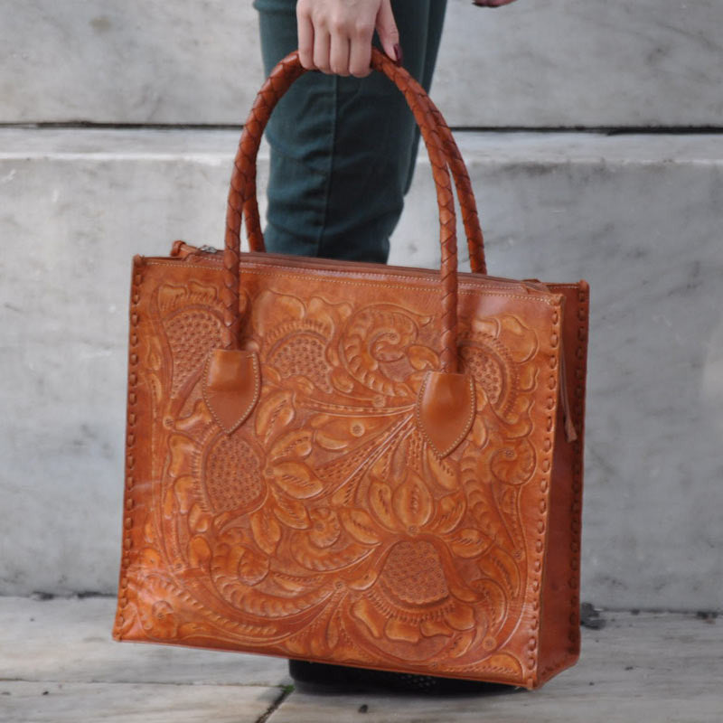 Luxury Tan Hand Carved Leather Handbag
