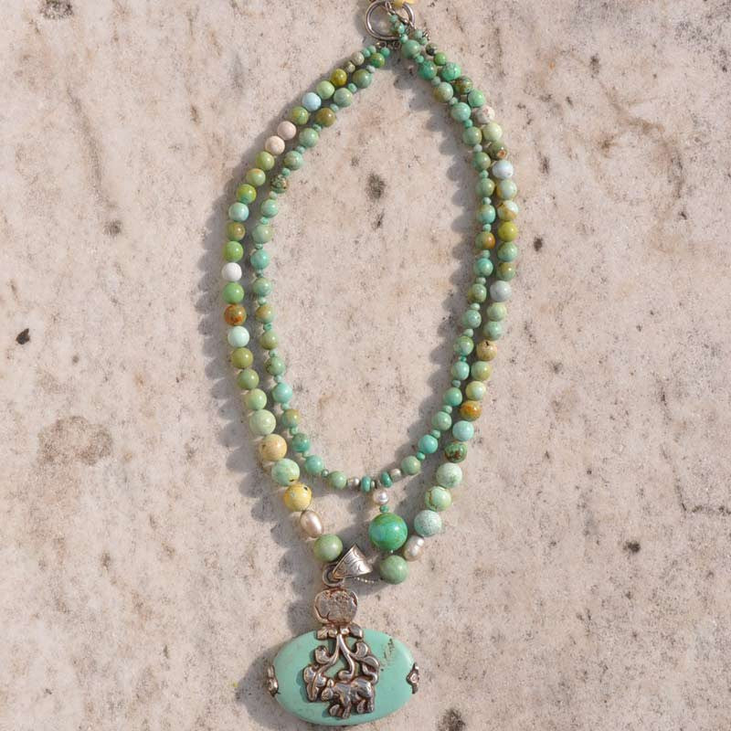 Oval Turquoise Stone Necklace
