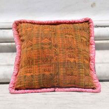 Pink Beaded Floral Pillow Case