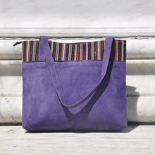 Purple Suede Tote Bag