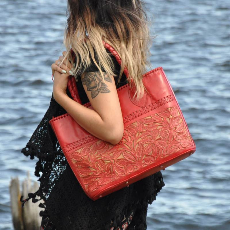 Red Floral Hand Carved Leather Handbag