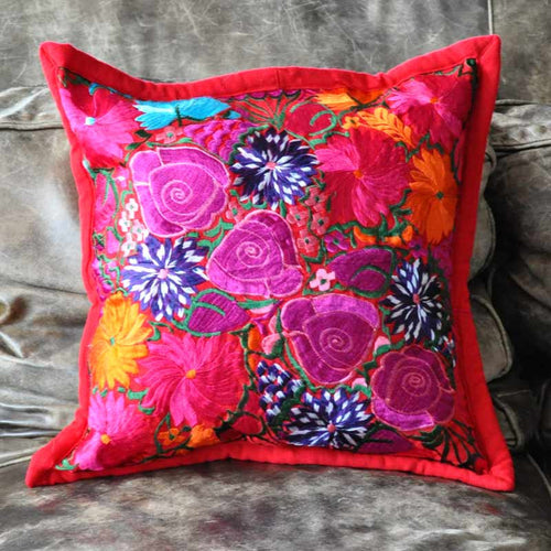 Red Floral Pillow Case