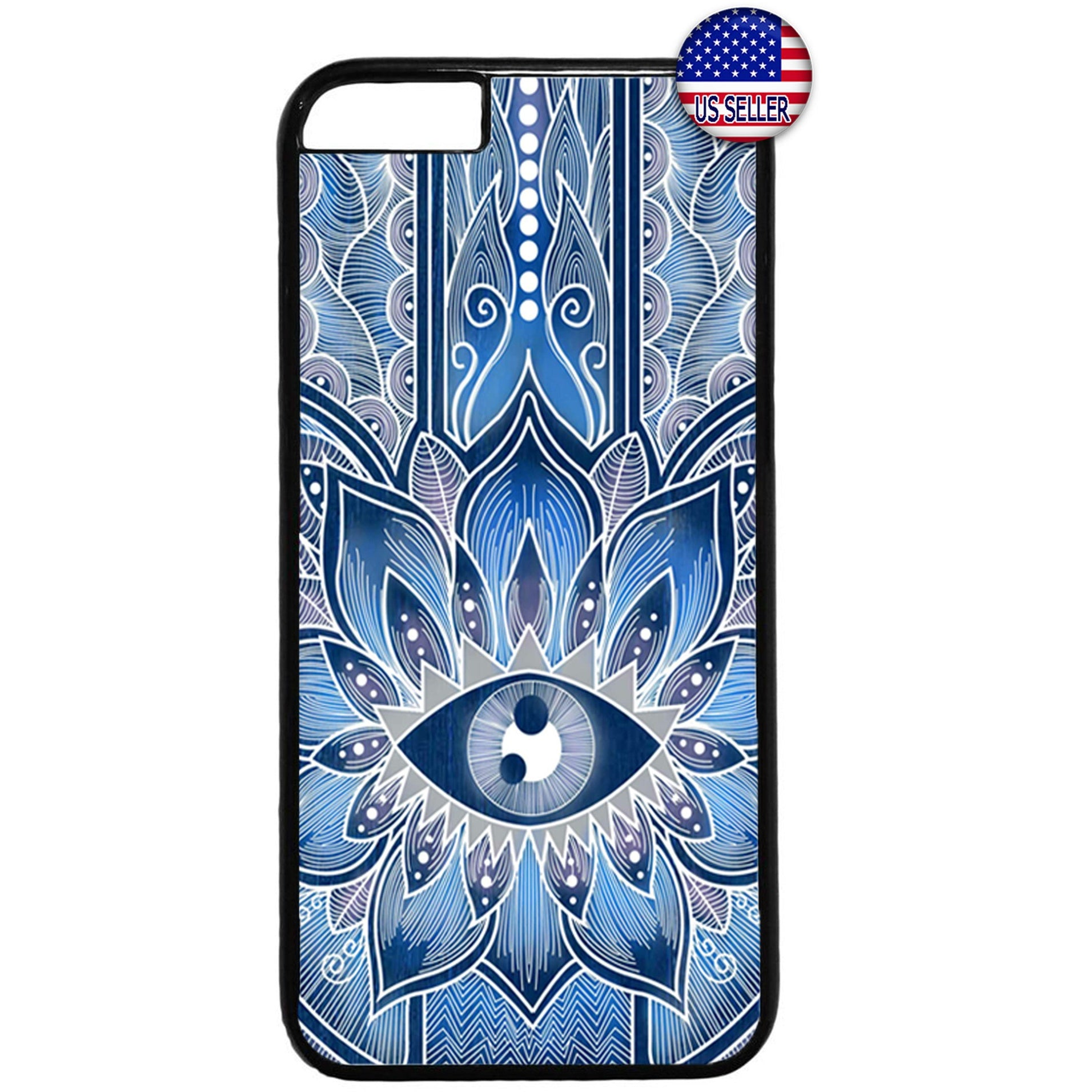 Hipster mandala Blue Evil Eye Rubber Case Cover For Iphone