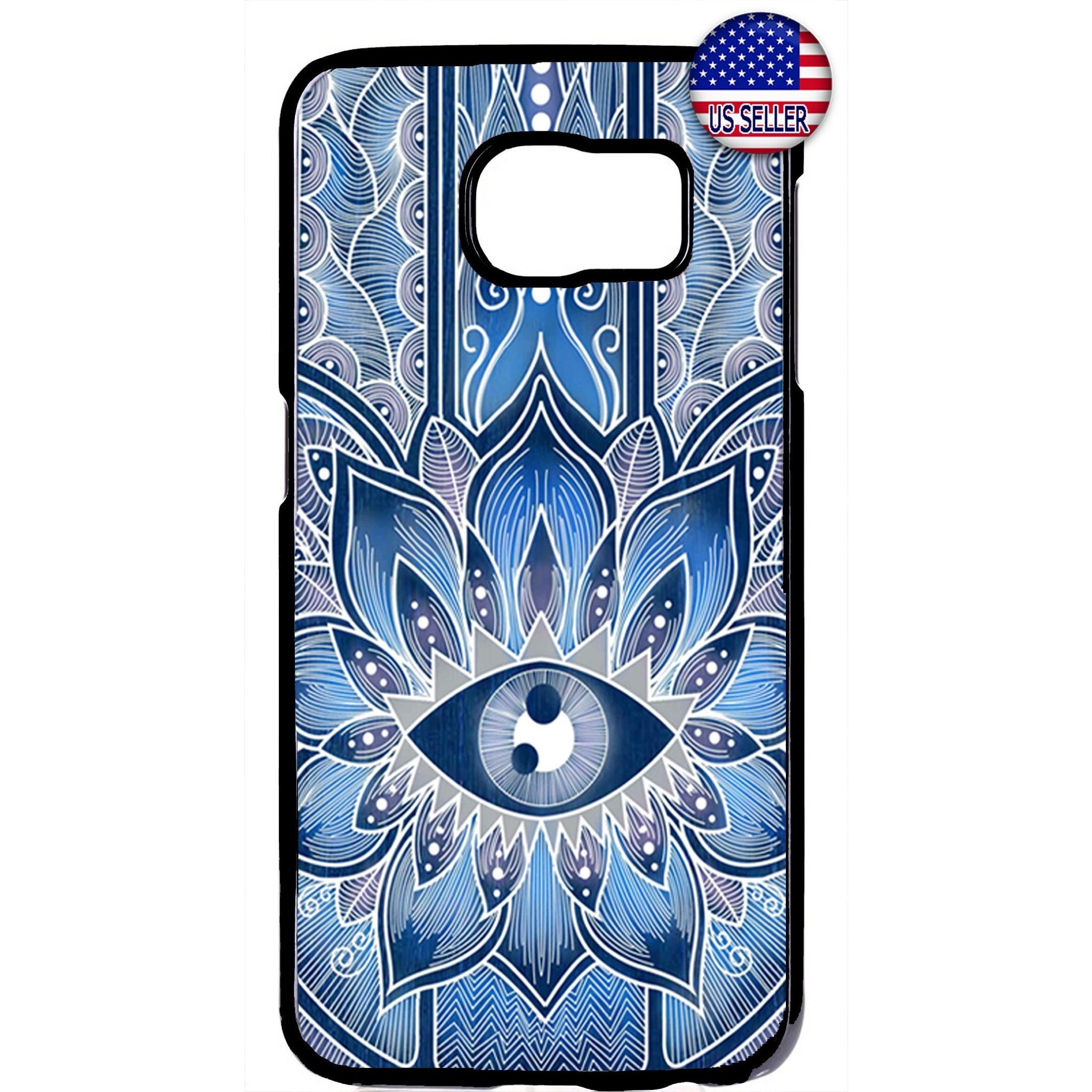 Hipster mandala Blue Evil Eye Rubber Case Cover For Samsung Galaxy