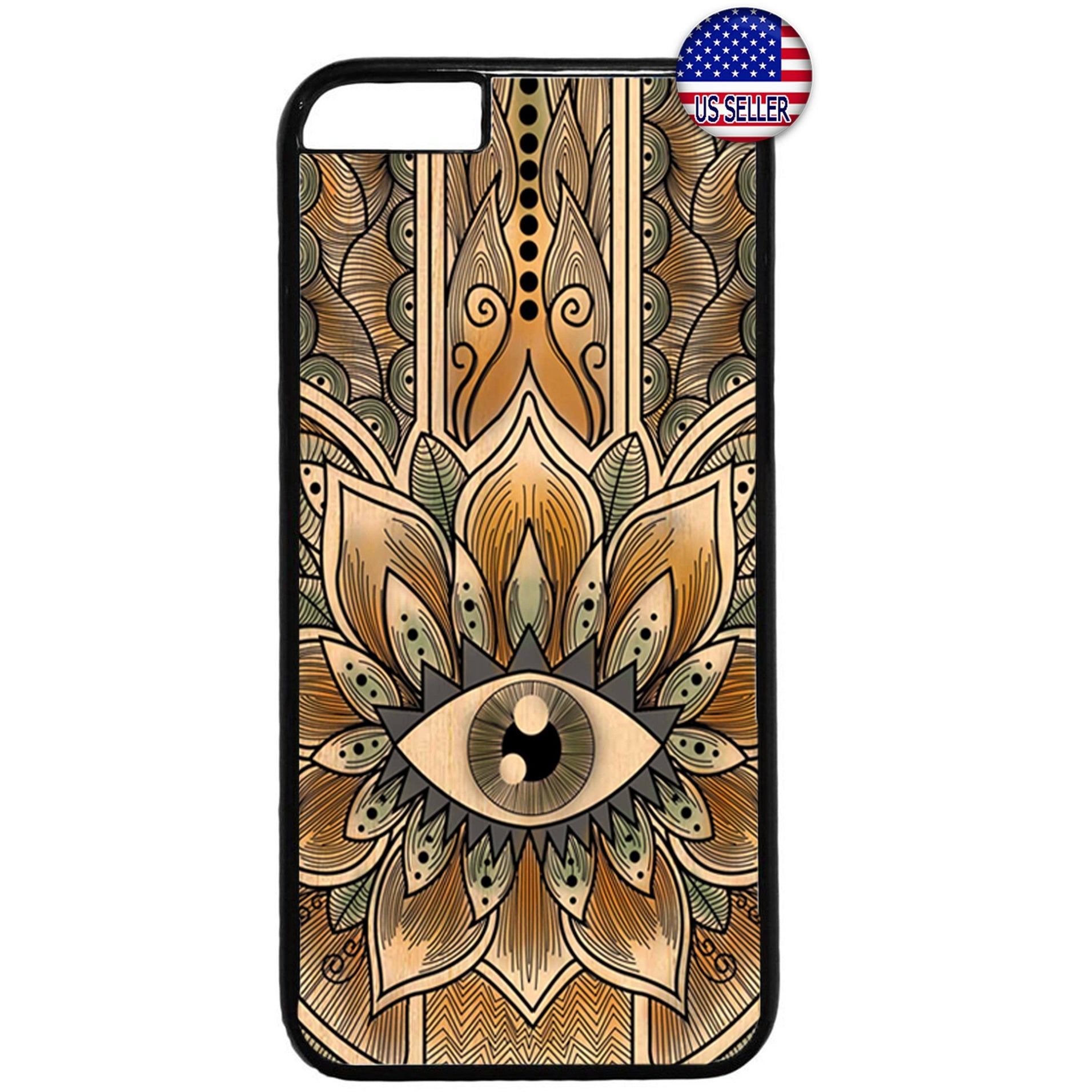 Gold Mandala Evil Eye Hipster Rubber Case Cover For Iphone