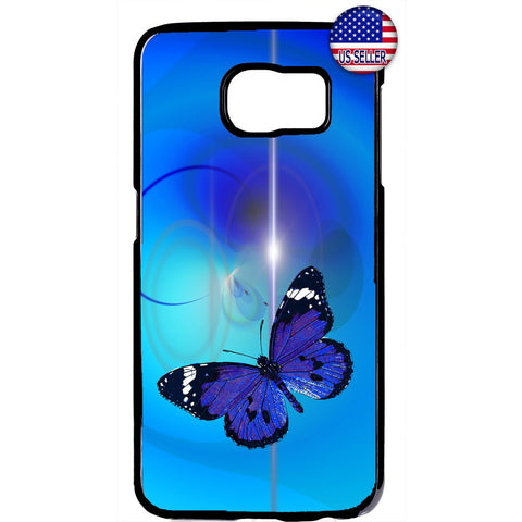 Sky Blue Butterfly Art Rubber Case Cover For Samsung Galaxy