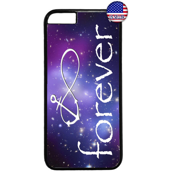 Infinite Love Anchor Galaxy Nebula Rubber Case Cover For Iphone