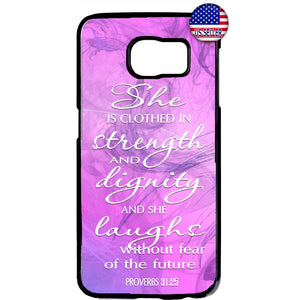 Christian Bible Proverbs 31:25 Jesus Christ Rubber Case Cover For Samsung Galaxy
