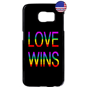 Love Wins LGBT Rainbow Gay & Lesbian Rubber Case Cover For Samsung Galaxy