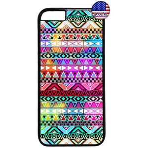 Aztec Colorful Neon Maya Geometric Rubber Case Cover For Iphone