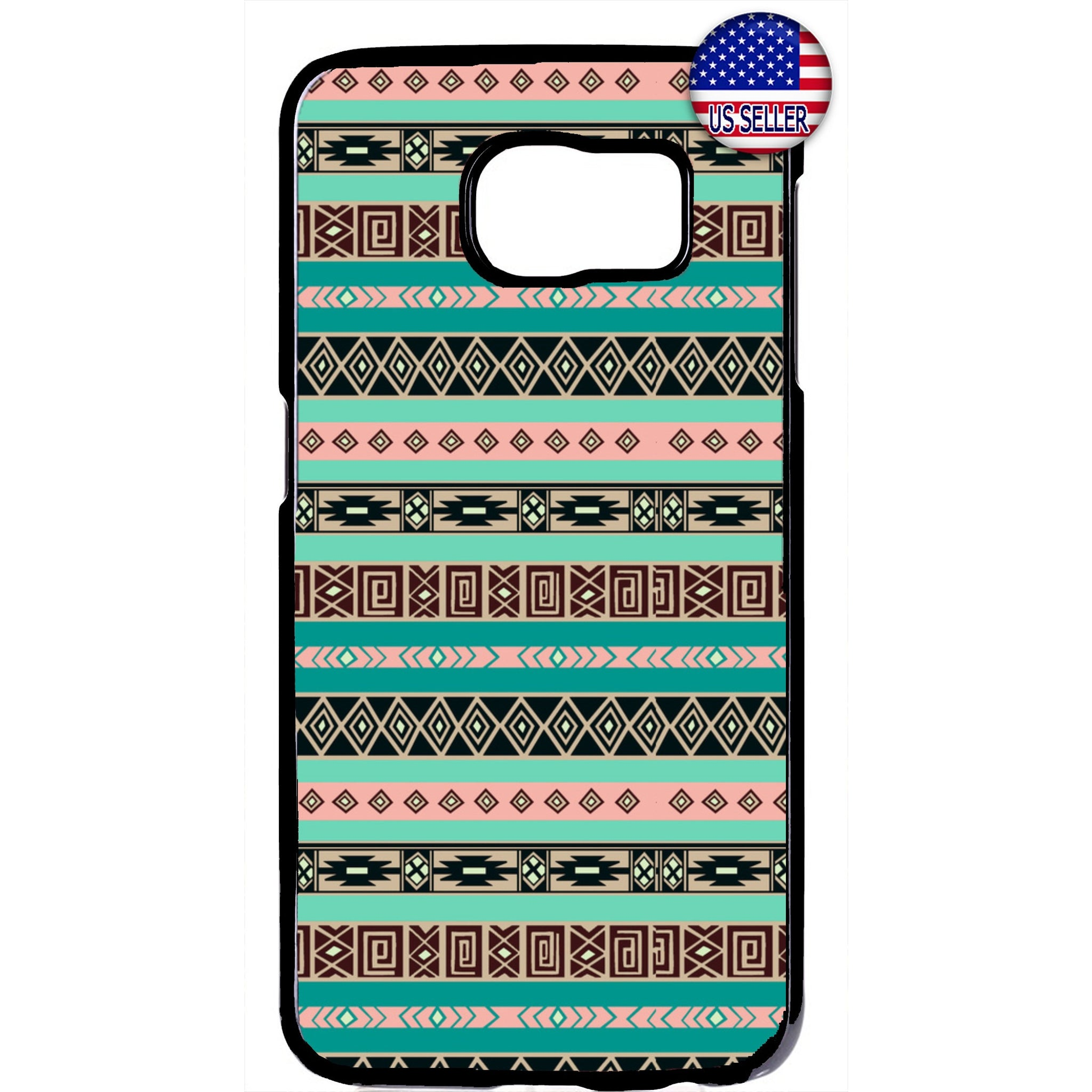 Retro Aztec Maya Tribal Native Geometric Rubber Case Cover For Samsung Galaxy
