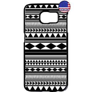 Monochrome Geometric Aztec Maya Rubber Case Cover For Samsung Galaxy
