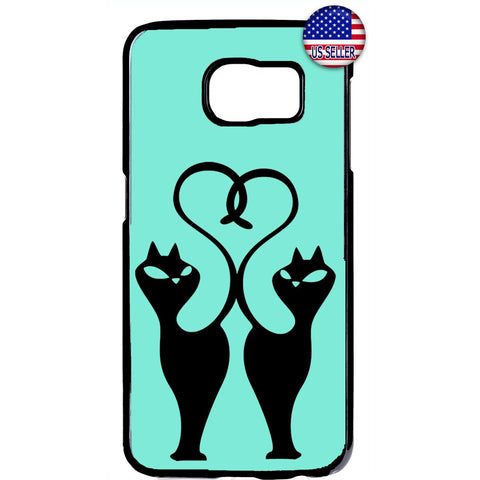 Fancy 2 Cats Heart Tail Animal Rubber Case Cover For Samsung Galaxy