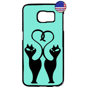 Fancy 2 Cats Heart Tail Animal Rubber Case Cover For Samsung Galaxy Note