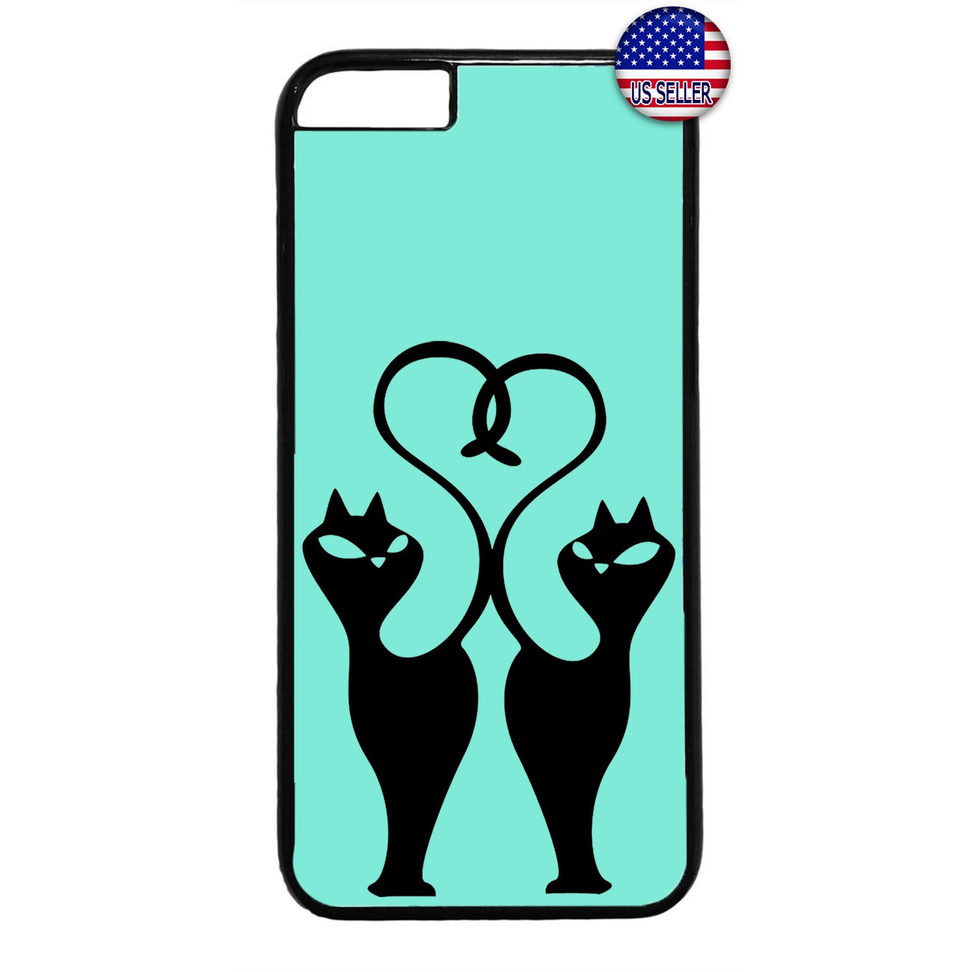 Fancy 2 Cats Heart Tail Animal Rubber Case Cover For Iphone