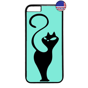 Cat In Teal Silhouette Kitty Pet Animal Rubber Case Cover For Iphone