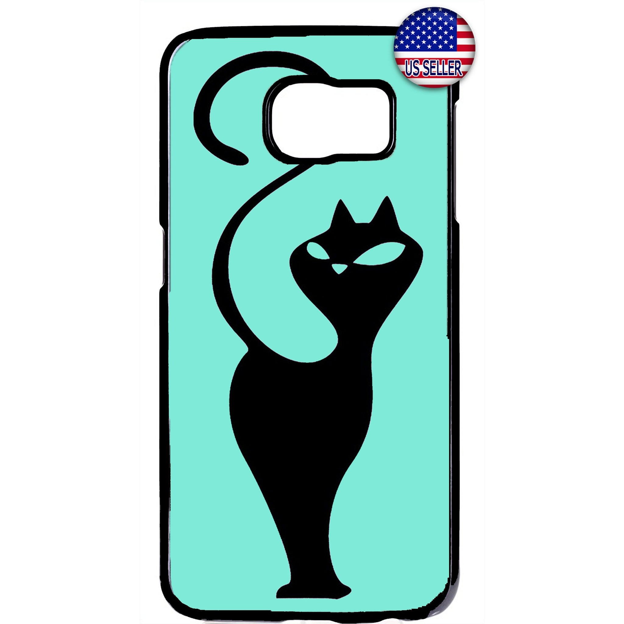 Cat In Teal Silhouette Kitty Pet Animal Rubber Case Cover For Samsung Galaxy
