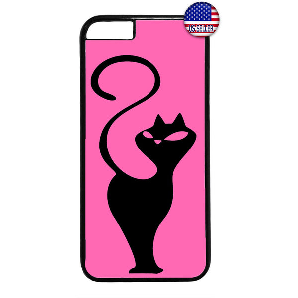Cat In Pink Silhouette Kitty Pet Animal Rubber Case Cover For Iphone