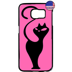 Cat In Pink Silhouette Kitty Pet Animal Rubber Case Cover For Samsung Galaxy