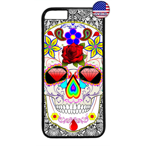 Sugar Skull Mexican Art Dia De Los Muertos Rubber Case Cover For Iphone
