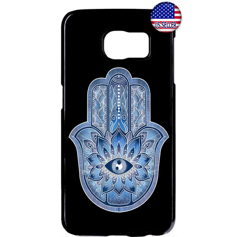 Blue Hamsa Evil Eye Guard Rubber Case Cover For Samsung Galaxy