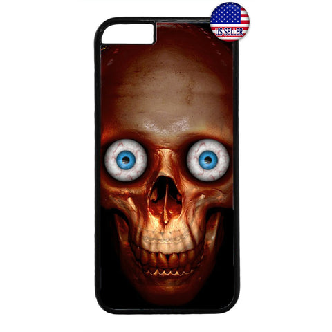 Creepy Skull Face Eyes Rubber Case Cover For Iphone