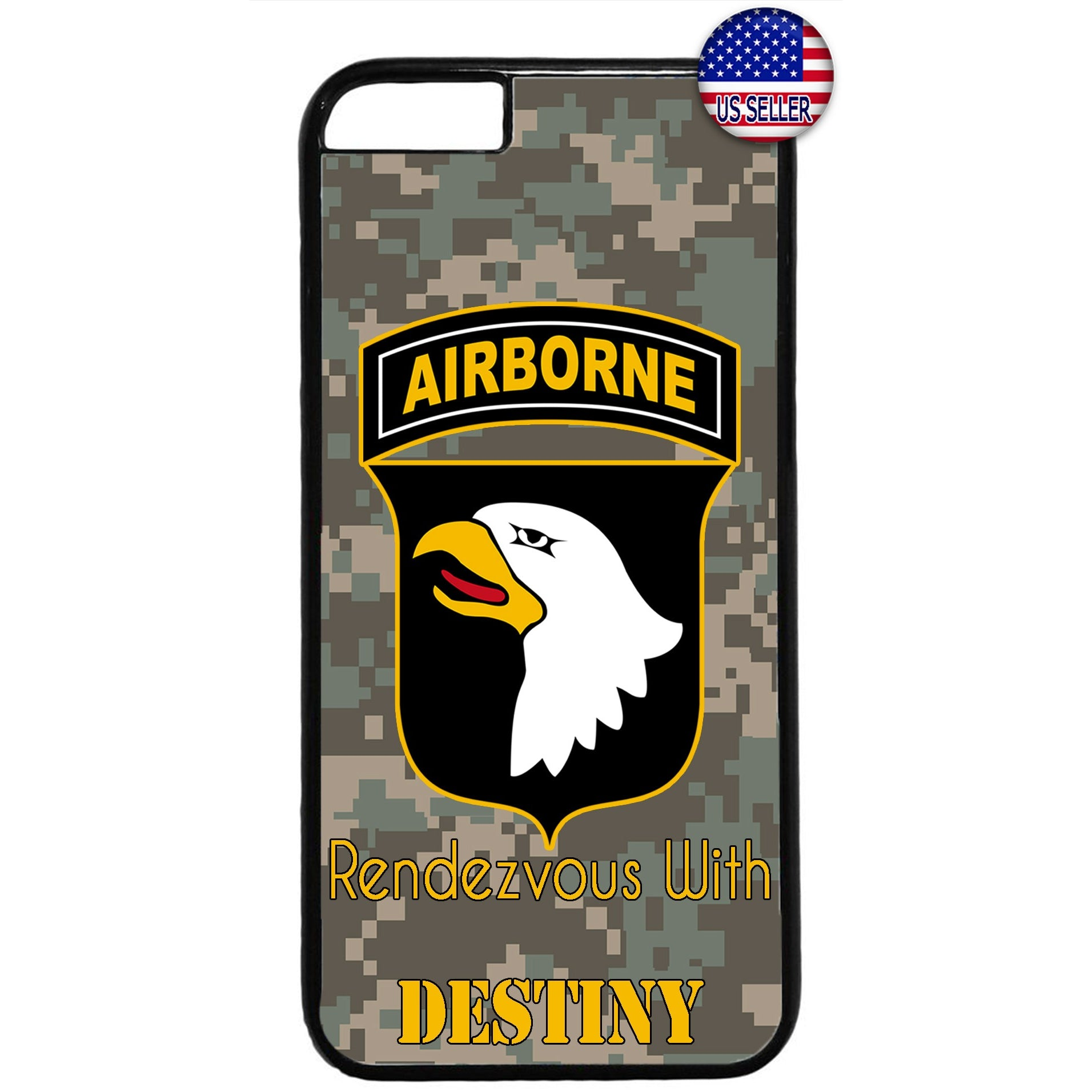 Camo Airborne Eagle USA Military Forces Rubber Case Cover For Iphone