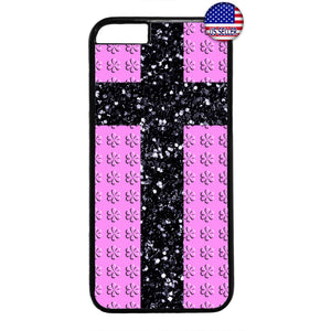 Christ Cross Pink Floral Christian Rubber Case Cover For Iphone