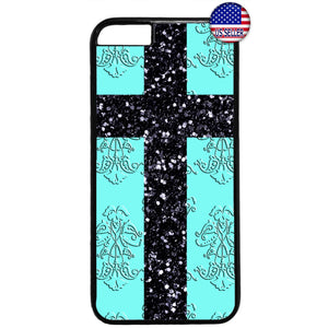 Christ Cross Aqua Damask Christian Rubber Case Cover For Iphone