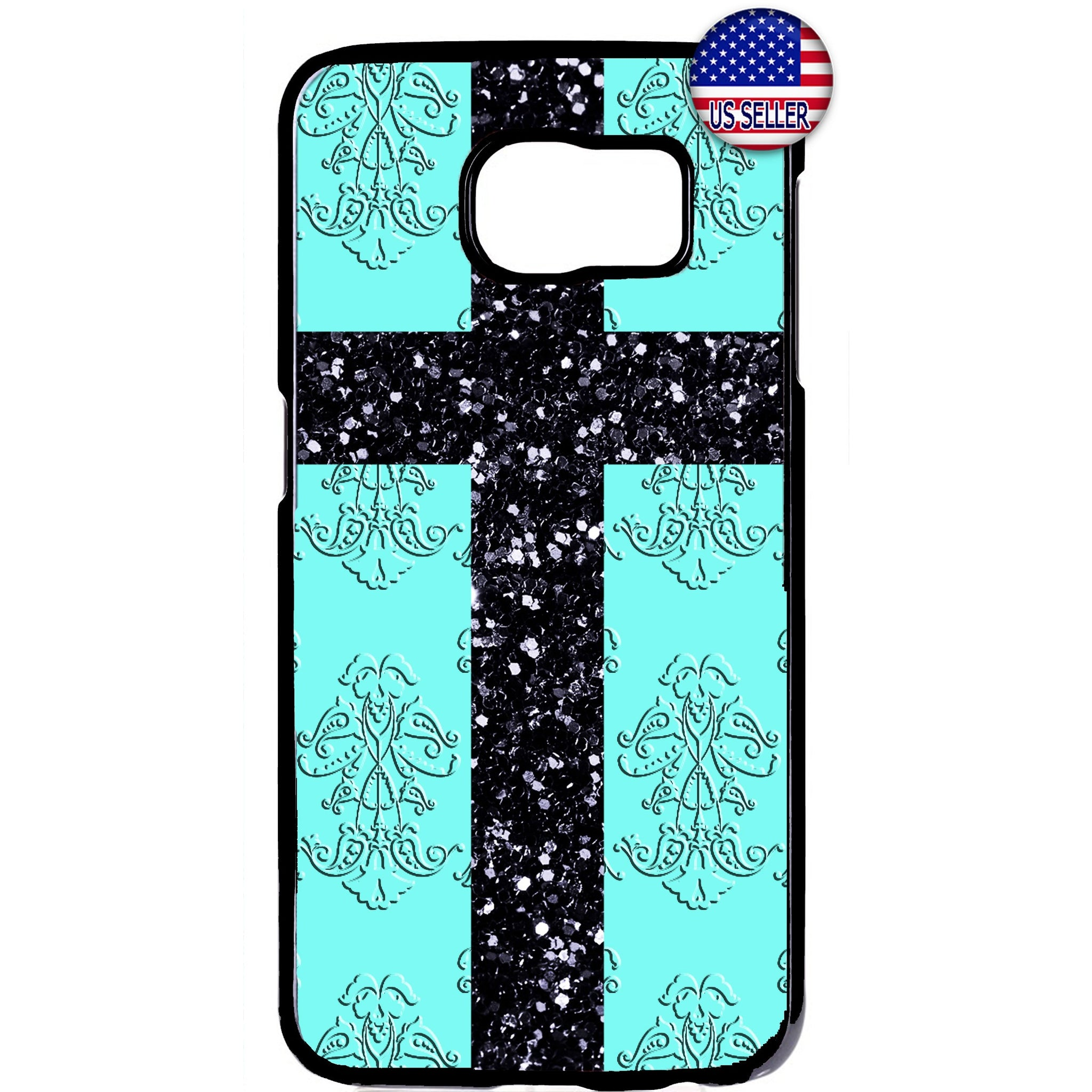 Christ Cross Aqua Damask Christian Rubber Case Cover For Samsung Galaxy