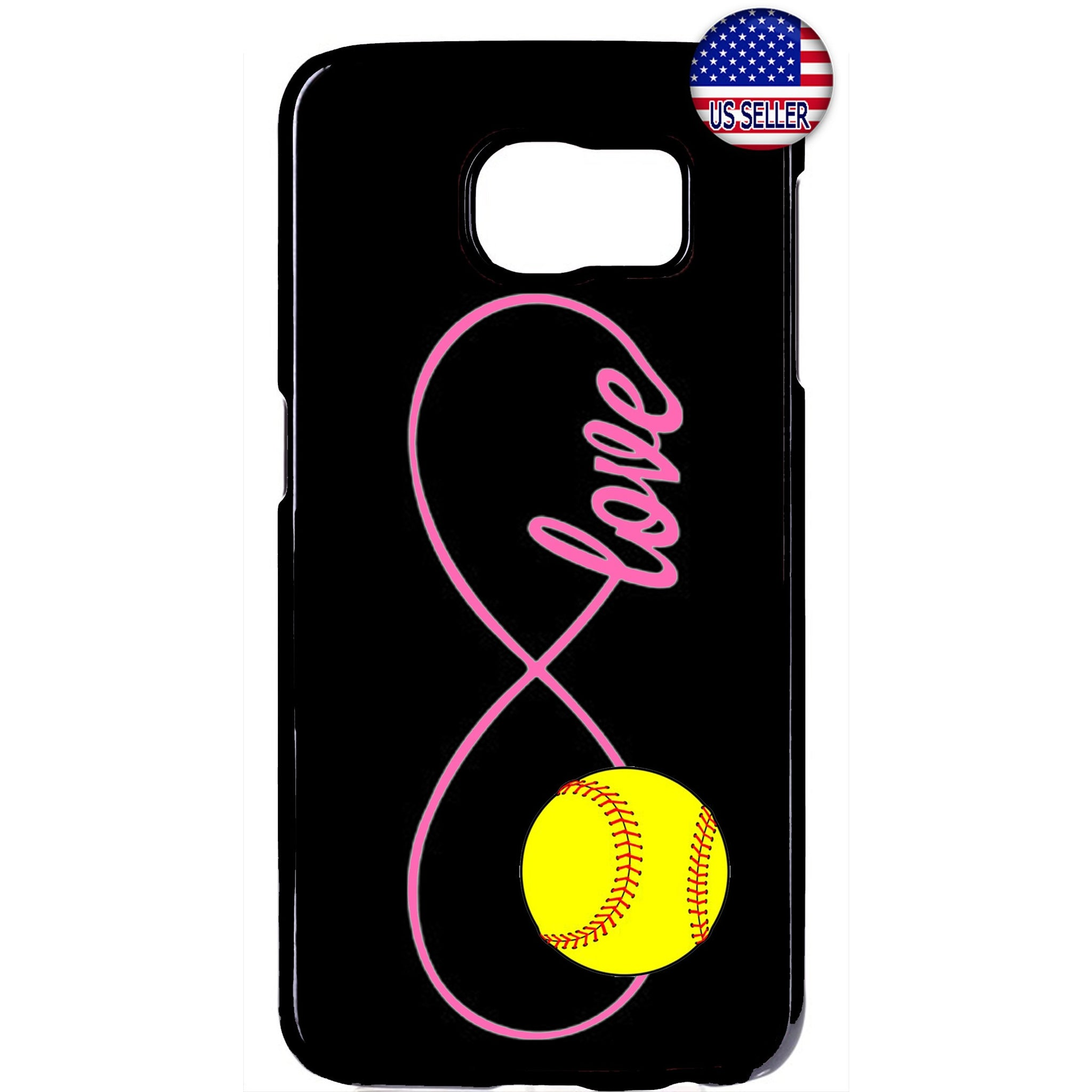 Pink Infinite Forever Softball Sports Rubber Case Cover For Samsung Galaxy
