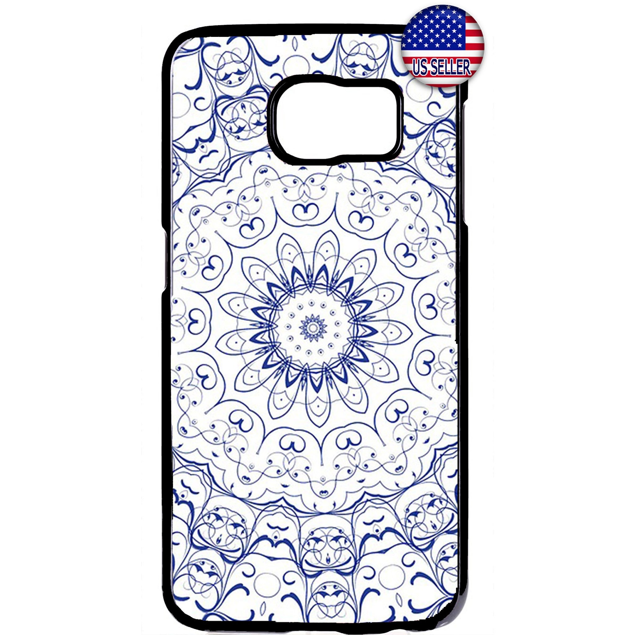 Blue mandala Henna Style Rubber Case Cover For Samsung Galaxy Note