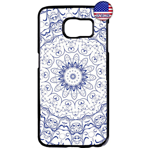 Blue mandala Henna Style Rubber Case Cover For Samsung Galaxy