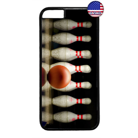 Bowling Ball & Pins Strike Rubber Case Cover For Iphone
