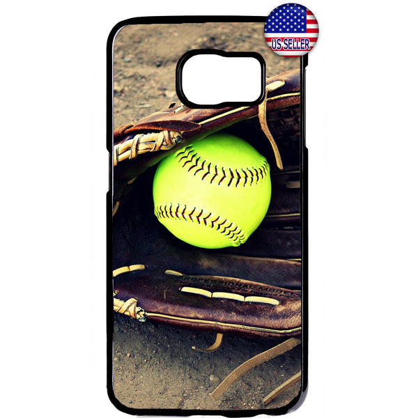 Softball & Glove Theme Sports Rubber Case Cover For Samsung Galaxy Note