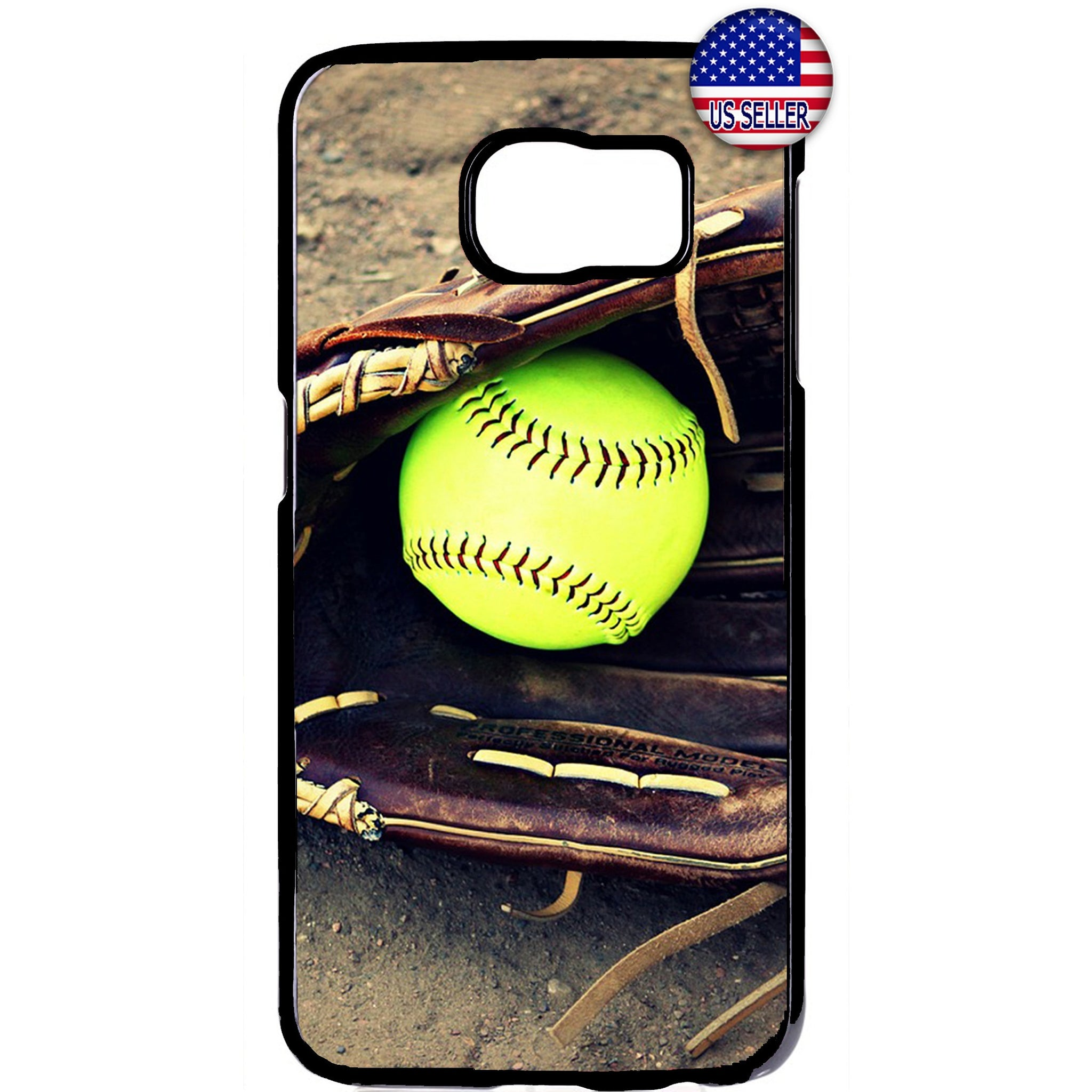 Softball & Glove Theme Sports Rubber Case Cover For Samsung Galaxy