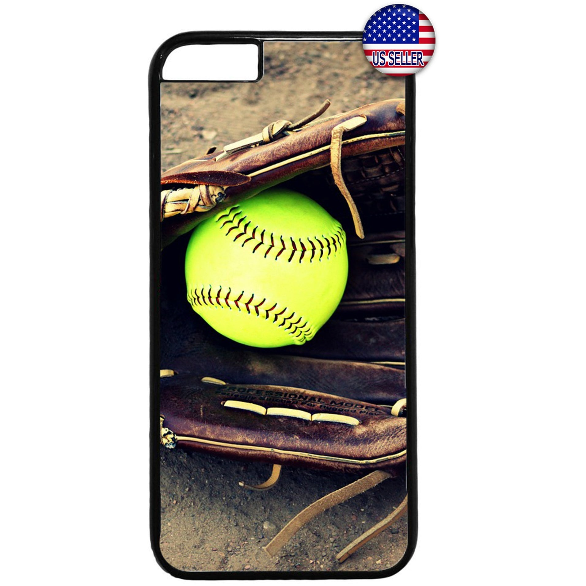Softball & Glove Theme Sports Rubber Case Cover For Iphone