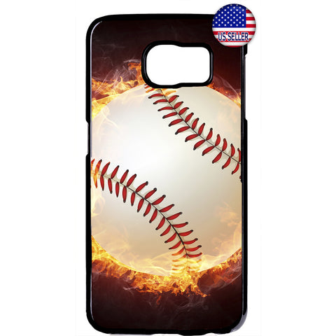 Baseball In Flames Sport Rubber Case Cover For Samsung Galaxy